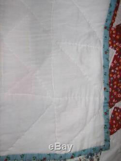 Handmade Vintage Queen Quilt 88x87 Hand Stitched