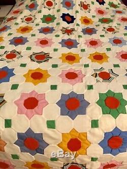Handmade Vintage Quilt Grandmas Flower Garden 1970 -82x 88- No Stains