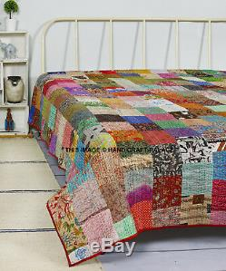 Handmade Vintage Silk Patchwork Kantha Embroidered Quilt Throw King Bedspread