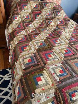 Heirloom antique Log Cabin hand made Quilt