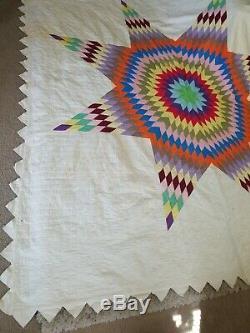Huge Antique Vintage Handmade Cotton Quilt Colorful Star Motif Approx 100 x 105