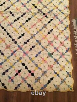 Hummingbird Antique Four 4-point Star Snowball Quilt Old Fabrics 80x64 Handmade
