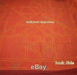 Indian Patch Work Bedspread Kantha Quilt Blanket Vintage Handmade Mirror Work