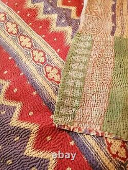 Indian Vintage Handmade Kantha Quilt Blanket Quilt Single Coverlet Throw