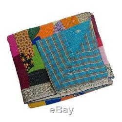 Indian Vintage Patchwork Handmade Bedspread, Bedding, Throw, Kantha Quilt VK44(12)