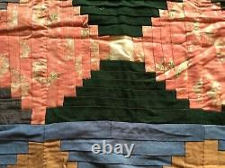 LATE 19th Century Vintage Wool Pieced QUILT LOG CABIN Type Optical Handmade Nice