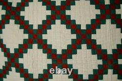 Lg. ELEGANT Vintage 1870's Double Irish Chain 9-Patch Antique Quilt NICE BORDER