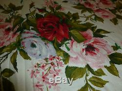 Lovely Antique Vintage Hand Made Cotton Quilt roses Design Approx 86 x 104
