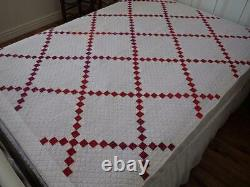 Lovely Shirting Prints! Antique c1890 Red & White Irish Chain QUILT 75x54