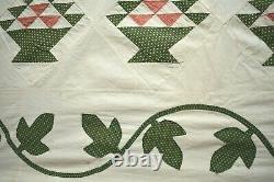 MAGNIFICENT Vintage 1870's Baskets Quilt Top Appliqued Grape Vine Border