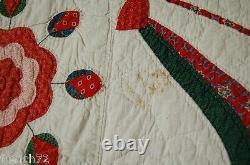 MUSEUM QUALITY Vintage PRE CIVIL WAR Whig Rose Antique Quilt Swag Border