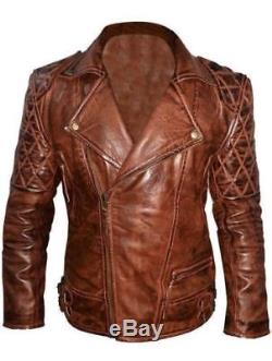 Men's Classic Diamond Biker Motorcycle Distressed vintage Quilted Leather Jacket