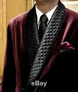 Mens Quilted Vintage Burgundy Velvet Blazer Smoking Bilberry Evening Jacket Coat