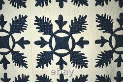 OUTSTANDING Vintage 1840's Oak Reel Applique Antique Quilt AMAZING BORDER