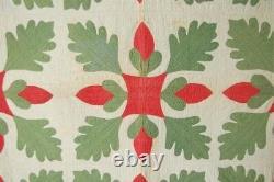 PRE CIVIL WAR 1850's Red & Green Oak Leaf & Acorn Applique Antique Quilt