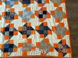 Pinwheel hand sewn orange vintage handmade quilt 68 x 76 paper pinwheels antique