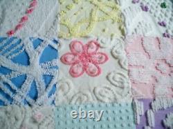 Plush Vintage Chenille Bedspread QuiltHandmadeChic Patchwork Design