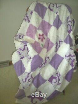 Plush Vintage Chenille Bedspread QuiltHandmadePURPLEChic Patchwork Design