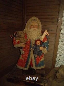 Primitive Santa Claus, Raggedy Ann Doll, vintage civil war quilt, Handmade