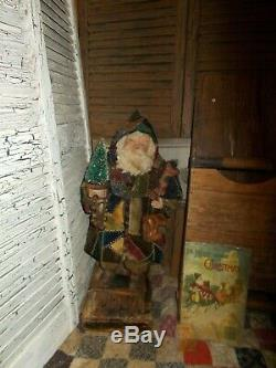 Primitive Santa Claus, Vintage quilt, sisal tree, Handmade Santa Claus doll, ooak