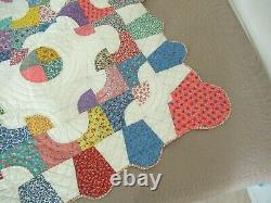 QUEEN Vintage Feed Sack Hand Sewn Icecream Cone Border CLEOPATRA'S PUZZLE Quilt