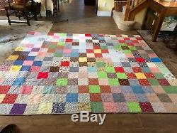 Queen patchwork handmade quilt size vintage square heart stitch full 87 x 106