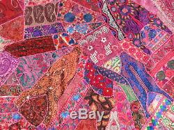 Quilt Handmade Patchwork Pink Sari Queen Bedspread Bed cover Vintage India Boho