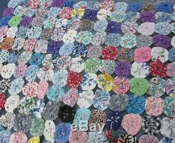 Quilt Handmade Yo Yo Colorful Floral Geometric Leopard Paisley Vintage 35x83