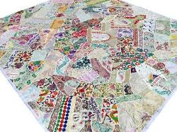 Quilt King Patchwork White Indian Bed cover Handmade India Vintage Patches Boho