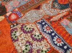 Quilt Patchwork Orange Queen Indian Handmade Bedspread Bed cover Vintage Boho