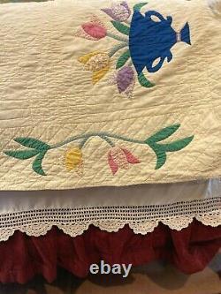 Quilt Tulip Applique Handmade Vintage Pastel Pale Yellow 84 x 84 K