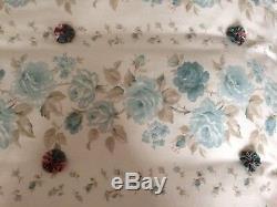 Quilted Eiderdown Laura Ashley Clarissa Roses Beads Vintage Fabric Suffolk Puffs