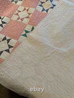 Quilts hand made vintage. Beautiful Hand Made Vintage 80 by 80 Quilt, No Holes