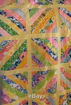 Rare Handmade Vintage Lilly Pulitzer Patchwork Quilt 59 X 90
