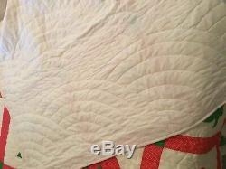 SET Vtg HandMade Quilt-Bedskirt-2Shams Full/Queen 75 x 88 Strawberry Muslin