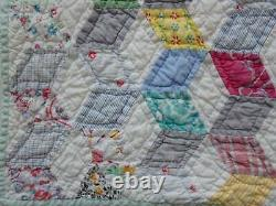 Sweet Vintage 30s Feedsack Tumbling Blocks QUILT 78x70
