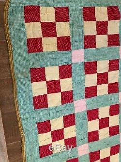 Twin sz Nine patch and Rails vintage handmade quilt 65 x 81 green red antique