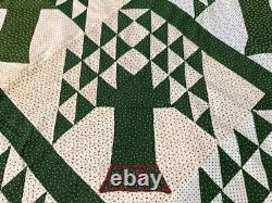 Unusual! PA c 1890s Tree of Life QUILT Top Antique Bars Signed Lancaster Co