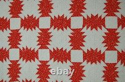 VIBRANT Vintage Red & White Pineapple Windmill Blades Log Cabin Antique Quilt