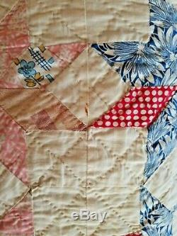 VINTAGE 1935 Handmade Patchwork Quilt Star Pattern Excellent Condition for Age