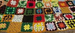 VINTAGE Aphgan Crochet supersize HAND Made HUGE 9ft X 16ft Granny blanket