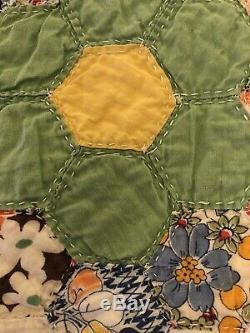 VINTAGE ESTATE QUILT Grandmas Garden Hand Made Hand Quilted 5 Stars 79 X 81