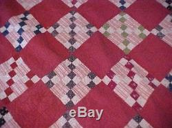 VINTAGE HAND MADE Maroon QUILT, Checkered 1920s
