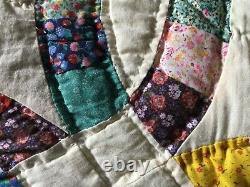 VINTAGE HANDMADE QUILT, DOUBLE WEDDING RING, COTTON, LOVELY COLORS, 85x 73