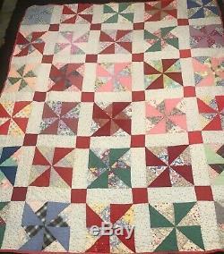 VINTAGE Pinwheel Patchwork Handmade in Tennessee Quilt Blanket 73x60