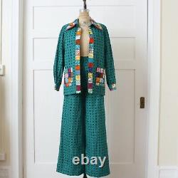 VNtG 1970s Patchwork Quilted Bell Bottom Suit OOAK Hippie Boho 2-pc Jacket Pants