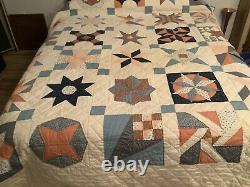 VNtg QUILT HAND MADE PATCHWORK STARS 85x100 Quilted Comforter Pastels Queen
