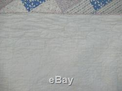 VTG 1930's Handmade Feedsack Patchwork Quilt 70X83 Pink Blue Green 4 Patch