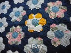 VTG 1950's Grandmothers Flower Garden Quilt 68 x 88 Antique NEVER USED Handmade