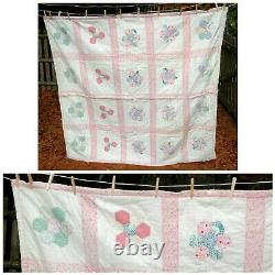 VTG 50's Country Chic Pink Handmade Quilt Flower Design 70 x 65 Heavy Weight